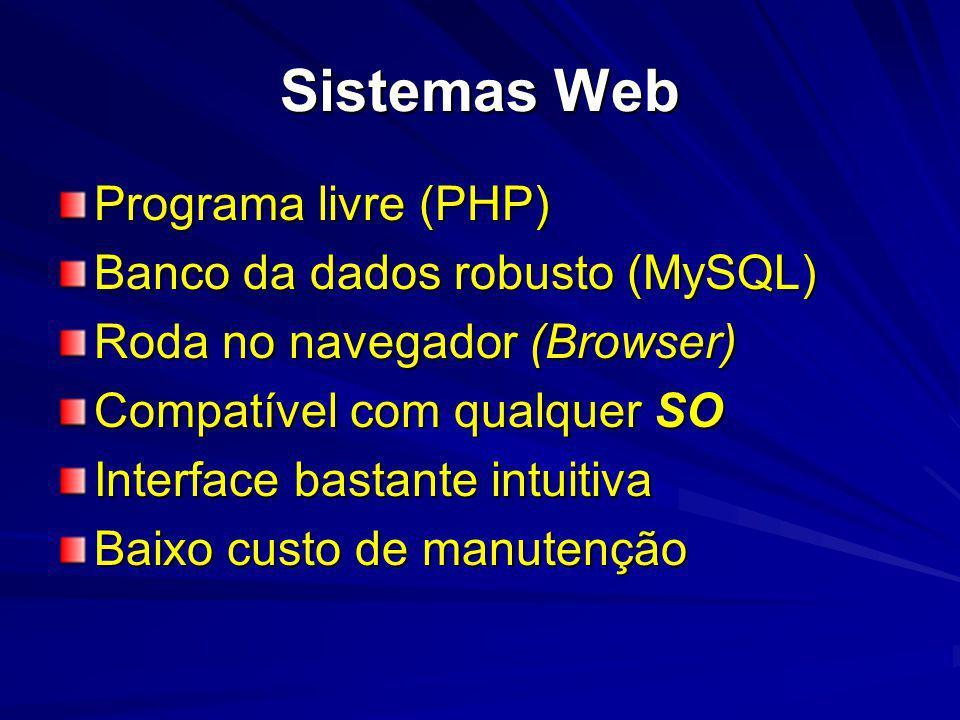 Sistemas Web Programa livre (PHP) Banco da dados robusto (MySQL) Roda no navegador (Browser) Compatível com qualquer SO Interface bastante intuitiva Baixo custo de manutenção