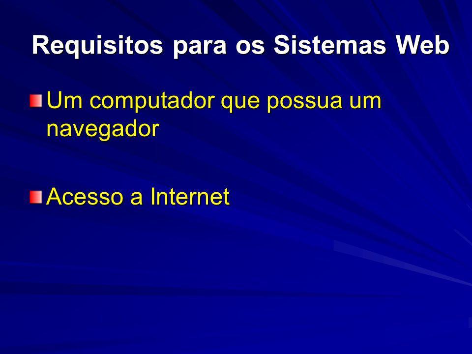 Requisitos para os Sistemas Web Um computador que possua um navegador Acesso a Internet