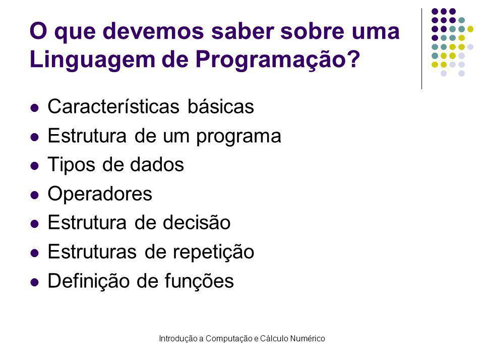 Introdução a Computação e Cálculo Numérico O que devemos saber sobre uma Linguagem de Programação? Características básicas Estrutura de um programa Ti