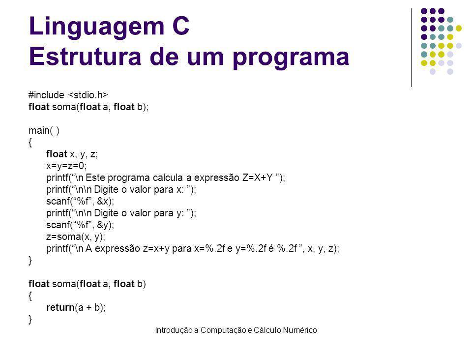 Introdução a Computação e Cálculo Numérico Linguagem C Estrutura de um programa #include float soma(float a, float b); main( ) { float x, y, z; x=y=z=0; printf(\n Este programa calcula a expressão Z=X+Y ); printf(\n\n Digite o valor para x: ); scanf(%f, &x); printf(\n\n Digite o valor para y: ); scanf(%f, &y); z=soma(x, y); printf(\n A expressão z=x+y para x=%.2f e y=%.2f é %.2f, x, y, z); } float soma(float a, float b) { return(a + b); }