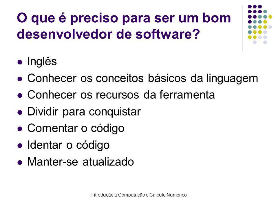 Introdução a Computação e Cálculo Numérico O que é preciso para ser um bom desenvolvedor de software? Inglês Conhecer os conceitos básicos da linguage