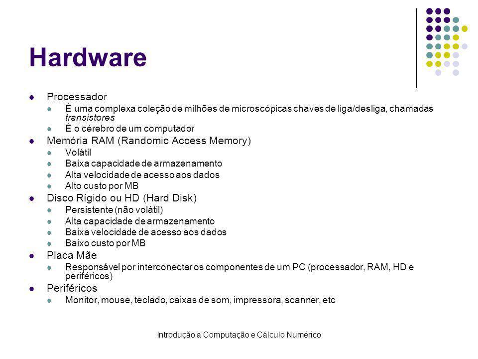 Introdução a Computação e Cálculo Numérico Hardware Processador É uma complexa coleção de milhões de microscópicas chaves de liga/desliga, chamadas transistores É o cérebro de um computador Memória RAM (Randomic Access Memory) Volátil Baixa capacidade de armazenamento Alta velocidade de acesso aos dados Alto custo por MB Disco Rígido ou HD (Hard Disk) Persistente (não volátil) Alta capacidade de armazenamento Baixa velocidade de acesso aos dados Baixo custo por MB Placa Mãe Responsável por interconectar os componentes de um PC (processador, RAM, HD e periféricos) Periféricos Monitor, mouse, teclado, caixas de som, impressora, scanner, etc