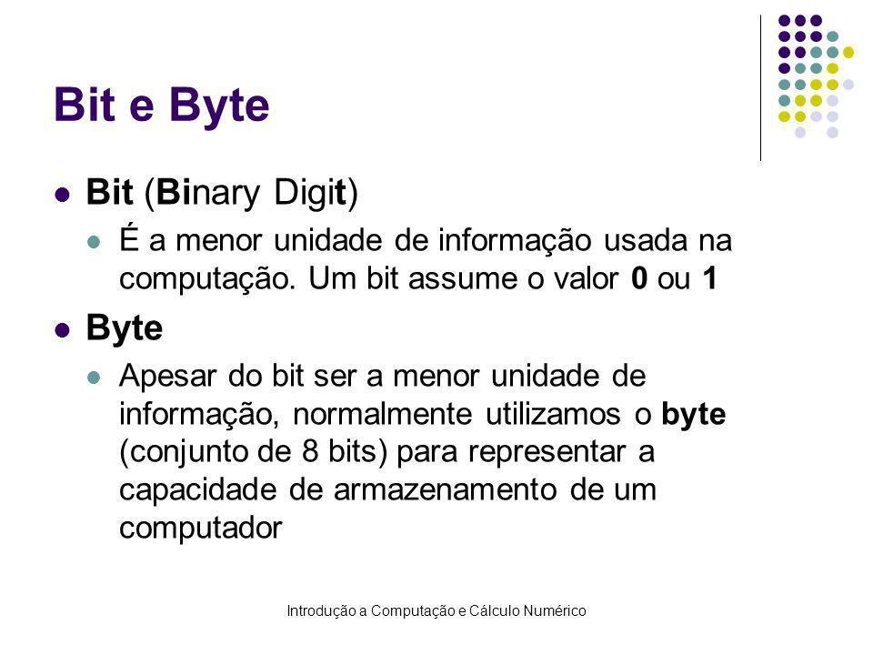 Introdução a Computação e Cálculo Numérico Bit e Byte Bit (Binary Digit) É a menor unidade de informação usada na computação. Um bit assume o valor 0