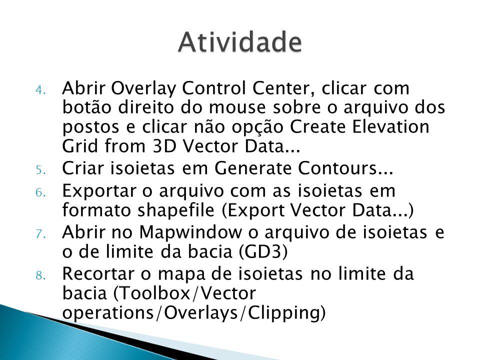 4. Abrir Overlay Control Center, clicar com botão direito do mouse sobre o arquivo dos postos e clicar não opção Create Elevation Grid from 3D Vector