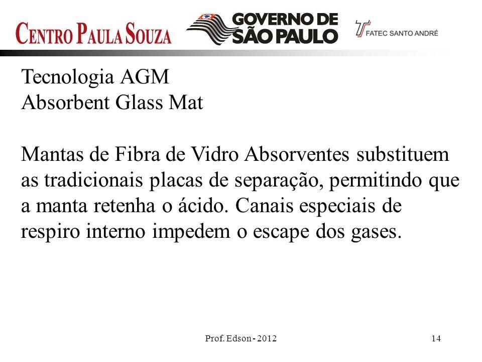 Prof. Edson - 201214 Tecnologia AGM Absorbent Glass Mat Mantas de Fibra de Vidro Absorventes substituem as tradicionais placas de separação, permitind