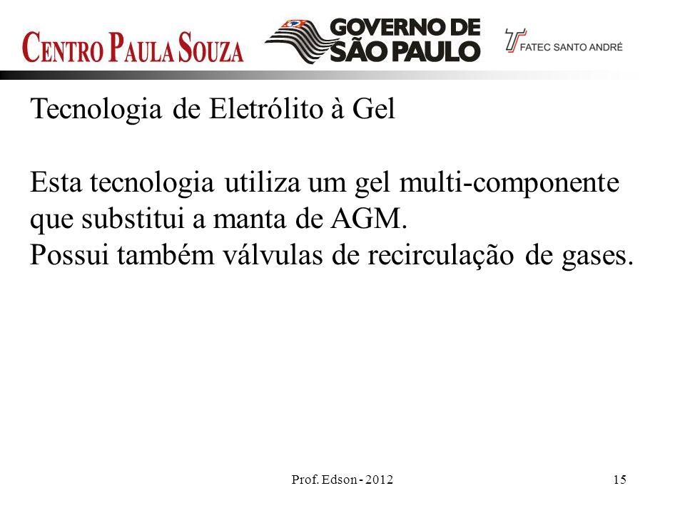 Prof. Edson - 201215 Tecnologia de Eletrólito à Gel Esta tecnologia utiliza um gel multi-componente que substitui a manta de AGM. Possui também válvul