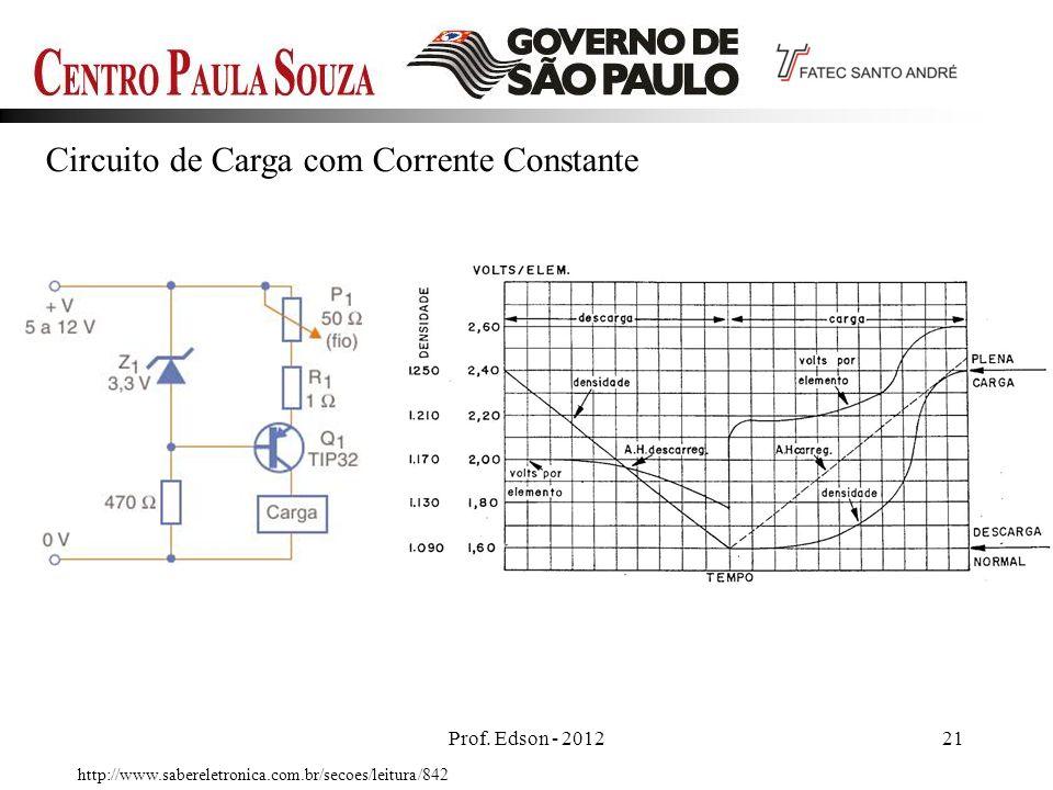 Prof. Edson - 201221 Circuito de Carga com Corrente Constante http://www.sabereletronica.com.br/secoes/leitura/842