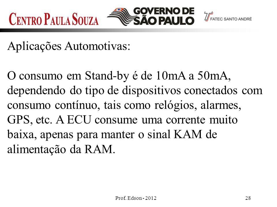 Prof. Edson - 201228 Aplicações Automotivas: O consumo em Stand-by é de 10mA a 50mA, dependendo do tipo de dispositivos conectados com consumo contínu