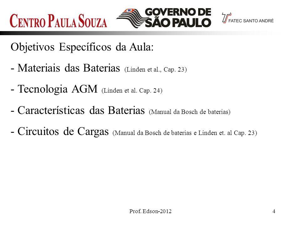 Prof. Edson-20124 Objetivos Específicos da Aula: - Materiais das Baterias (Linden et al., Cap. 23) - Tecnologia AGM (Linden et al. Cap. 24) - Caracter