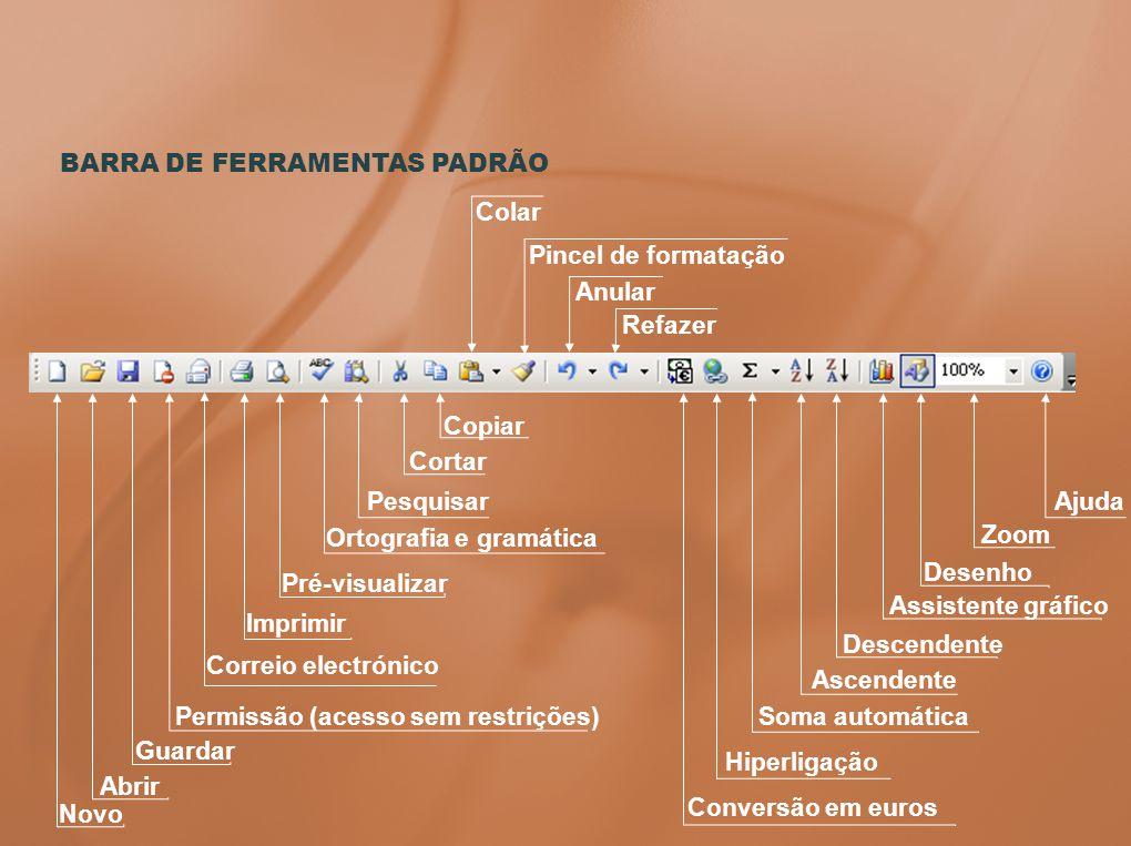 BARRA DE FERRAMENTAS PADRÃO Colar Pincel de formatação Anular Refazer Permissão (acesso sem restrições) Pesquisar Copiar Novo Abrir Guardar Imprimir P
