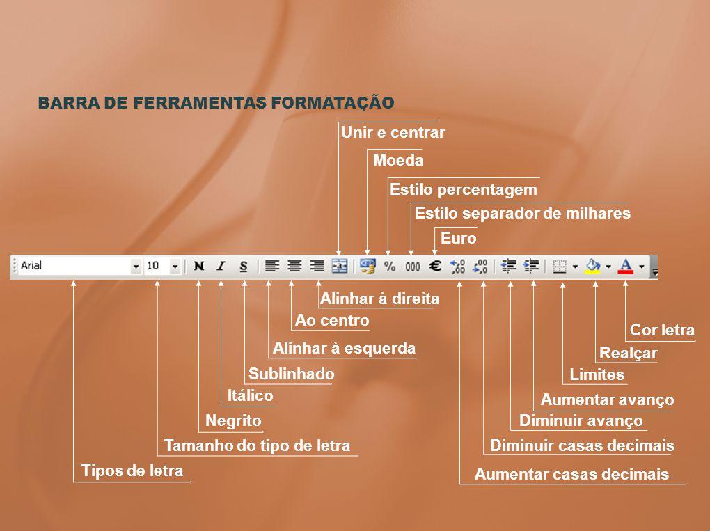 BARRA DE FERRAMENTAS FORMATAÇÃO Tipos de letra Tamanho do tipo de letra Negrito Itálico Sublinhado Alinhar à esquerda Ao centro Alinhar à direita Unir