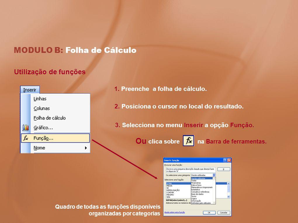 MODULO B: Folha de Cálculo 1. Preenche a folha de cálculo. 2. Posiciona o cursor no local do resultado. 3. Selecciona no menu Inserir a opção Função.
