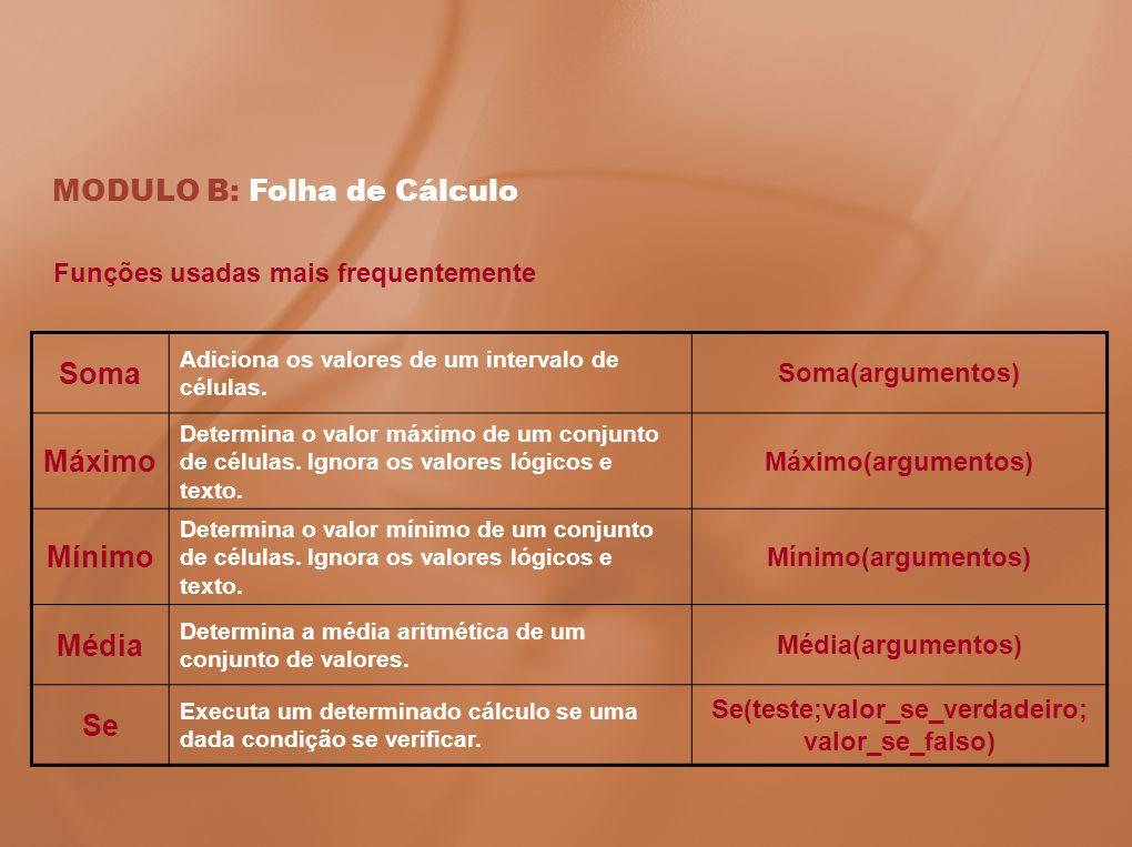 MODULO B: Folha de Cálculo Funções usadas mais frequentemente Soma Adiciona os valores de um intervalo de células. Soma(argumentos) Máximo Determina o