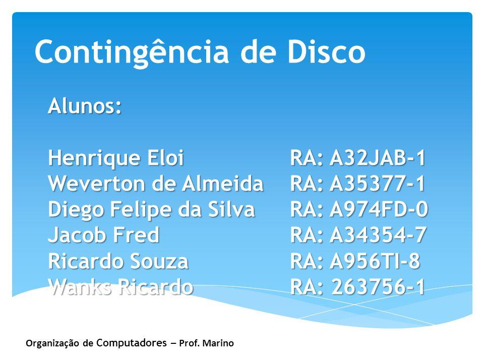 Organização de Computadores – Prof. Marino Contingência de Disco Alunos: Henrique EloiRA: A32JAB-1 Weverton de Almeida RA: A35377-1 Diego Felipe da Si