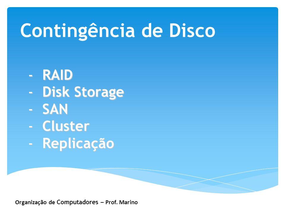 Organização de Computadores – Prof. Marino Contingência de Disco -RAID -Disk Storage -SAN -Cluster -Replicação