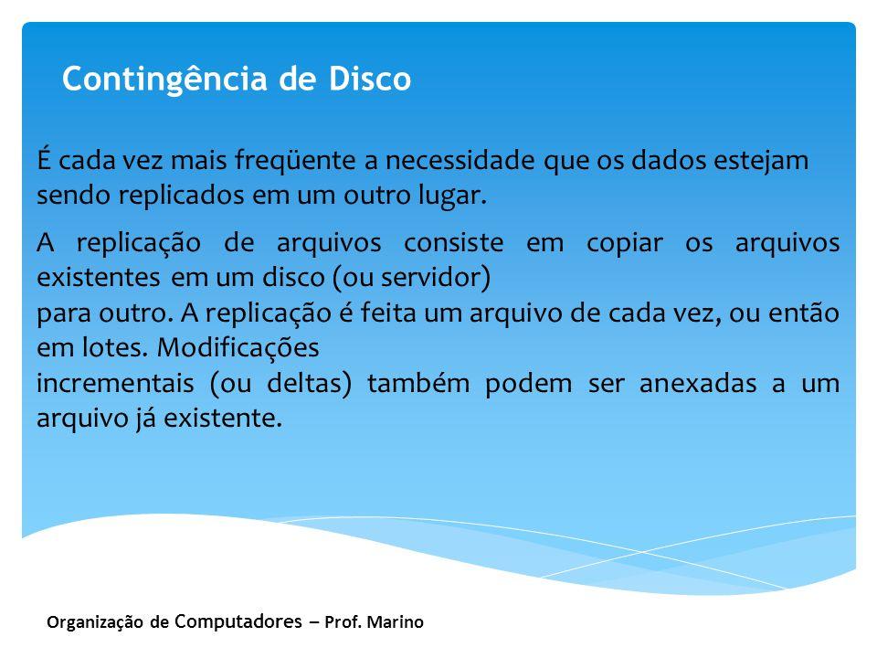 Organização de Computadores – Prof. Marino Contingência de Disco É cada vez mais freqüente a necessidade que os dados estejam sendo replicados em um o