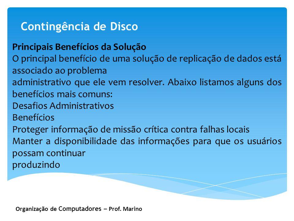 Organização de Computadores – Prof. Marino Contingência de Disco Principais Benefícios da Solução O principal benefício de uma solução de replicação d