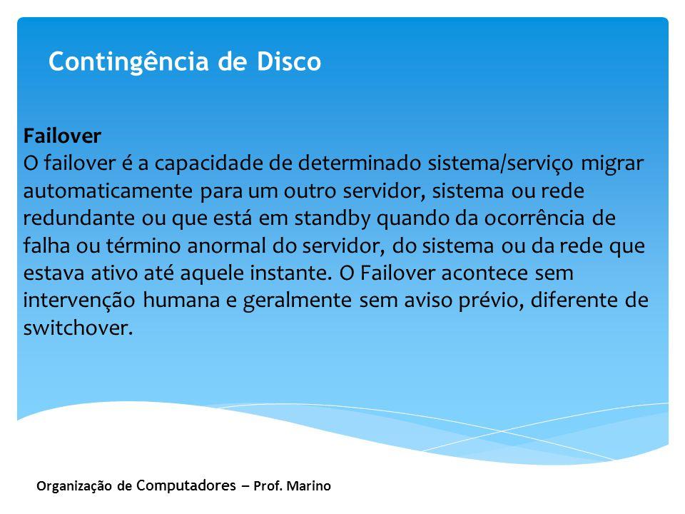 Organização de Computadores – Prof. Marino Contingência de Disco Failover O failover é a capacidade de determinado sistema/serviço migrar automaticame