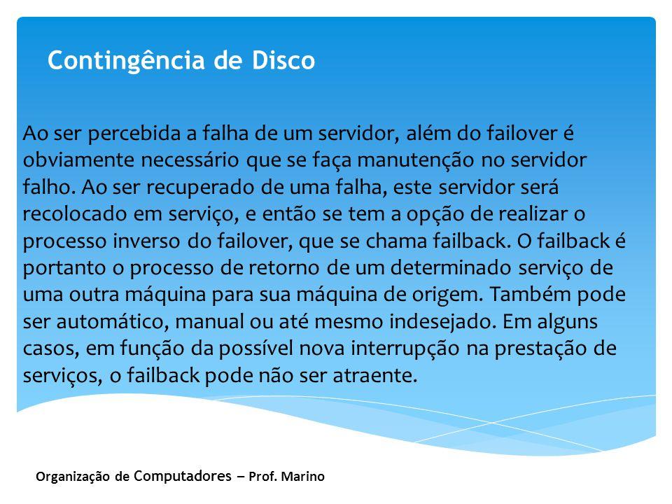 Organização de Computadores – Prof. Marino Contingência de Disco Ao ser percebida a falha de um servidor, além do failover é obviamente necessário que