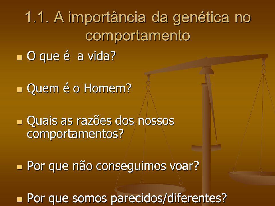 1.1. A importância da genética no comportamento O que é a vida? O que é a vida? Quem é o Homem? Quem é o Homem? Quais as razões dos nossos comportamen