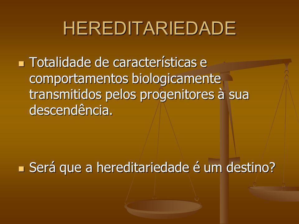 HEREDITARIEDADE Totalidade de características e comportamentos biologicamente transmitidos pelos progenitores à sua descendência. Totalidade de caract