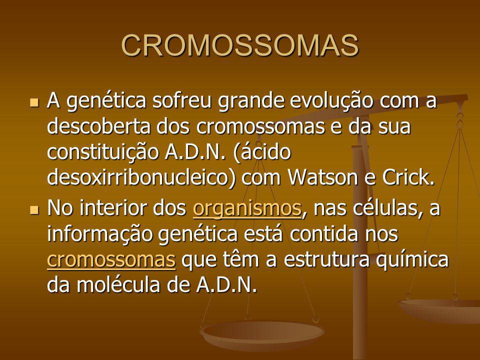CROMOSSOMAS A genética sofreu grande evolução com a descoberta dos cromossomas e da sua constituição A.D.N. (ácido desoxirribonucleico) com Watson e C