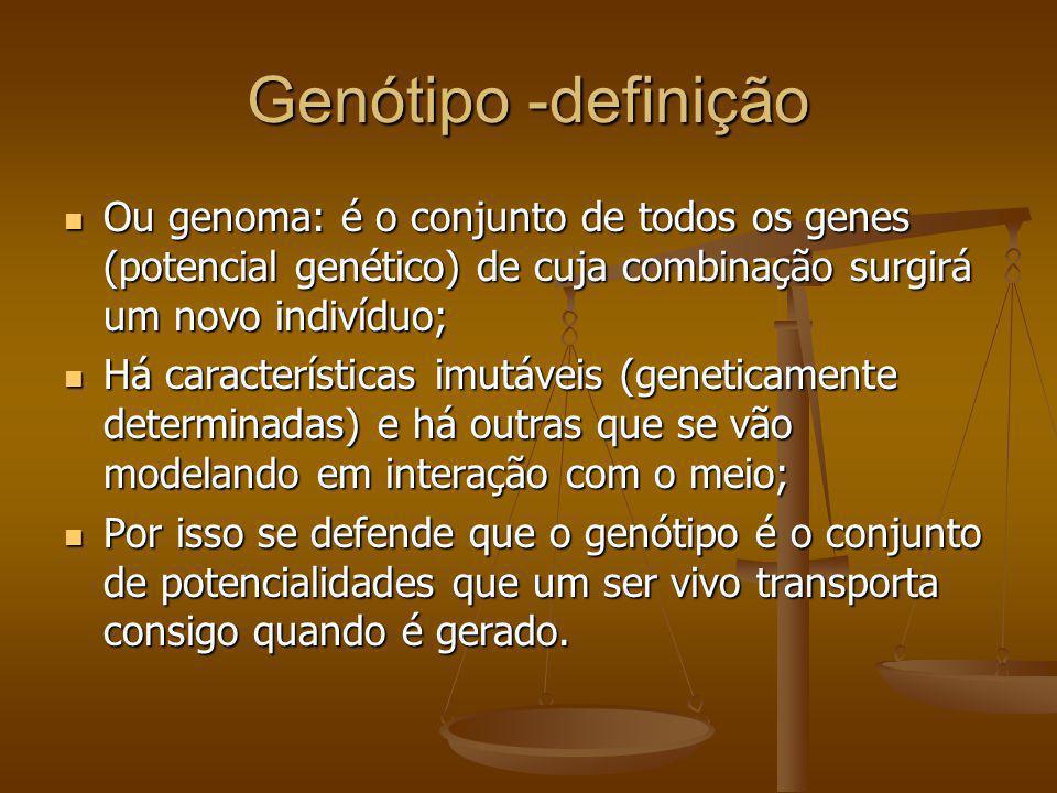 Genótipo -definição Ou genoma: é o conjunto de todos os genes (potencial genético) de cuja combinação surgirá um novo indivíduo; Ou genoma: é o conjun