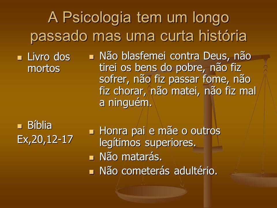A Psicologia tem um longo passado mas uma curta história Livro dos mortos Livro dos mortos Bíblia BíbliaEx,20,12-17 Não blasfemei contra Deus, não tir
