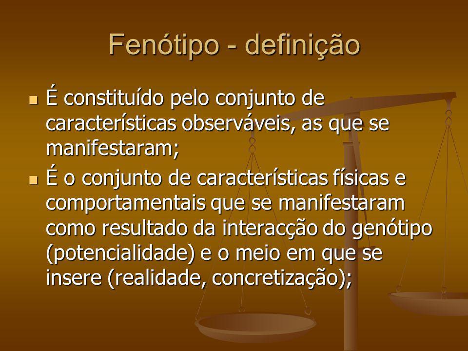 Fenótipo - definição É constituído pelo conjunto de características observáveis, as que se manifestaram; É constituído pelo conjunto de característica
