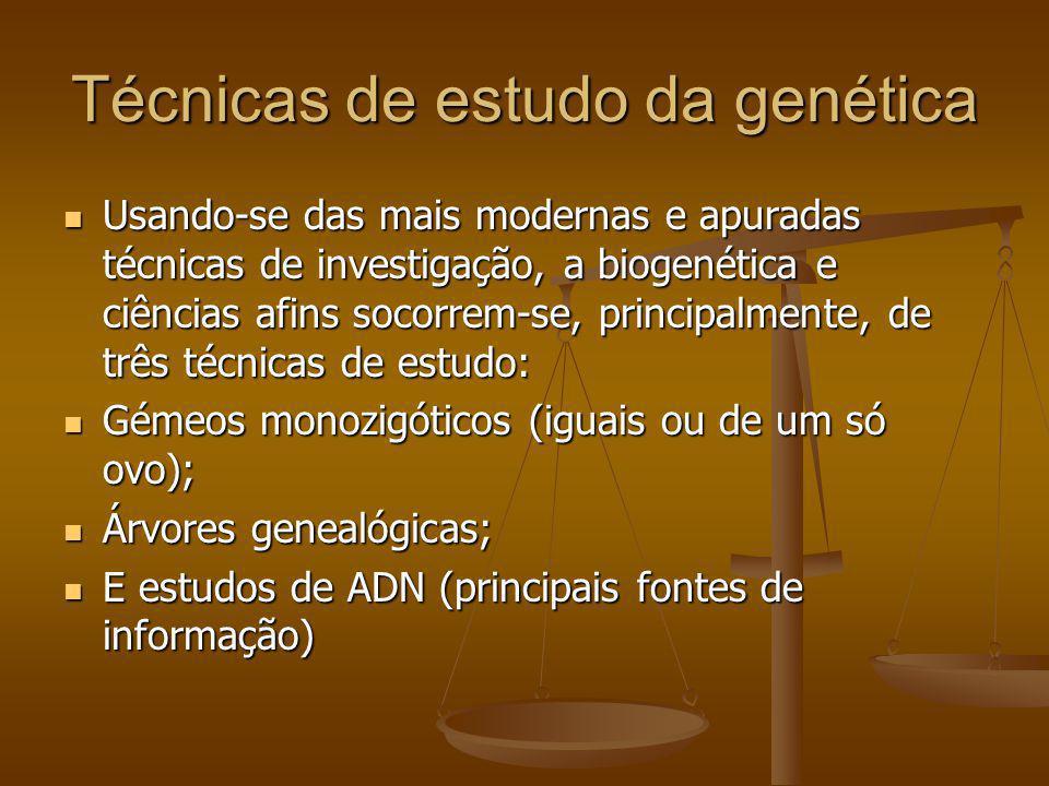 Técnicas de estudo da genética Usando-se das mais modernas e apuradas técnicas de investigação, a biogenética e ciências afins socorrem-se, principalm