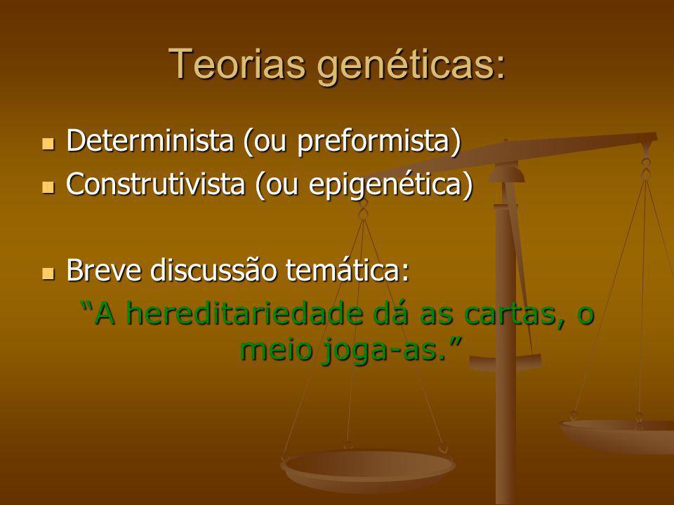Teorias genéticas: Determinista (ou preformista) Determinista (ou preformista) Construtivista (ou epigenética) Construtivista (ou epigenética) Breve d