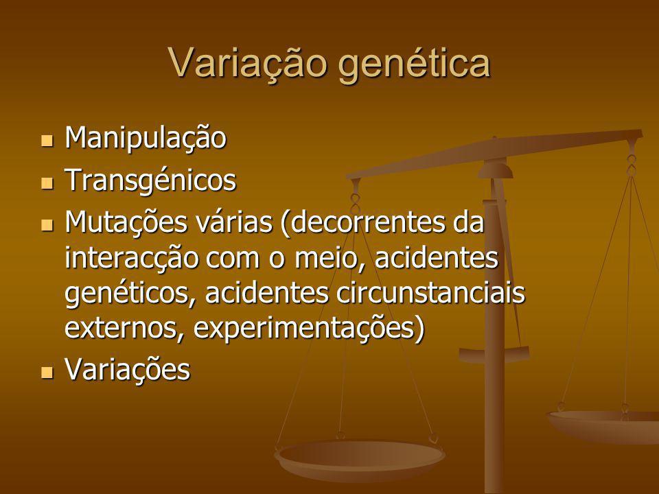 Variação genética Manipulação Manipulação Transgénicos Transgénicos Mutações várias (decorrentes da interacção com o meio, acidentes genéticos, aciden