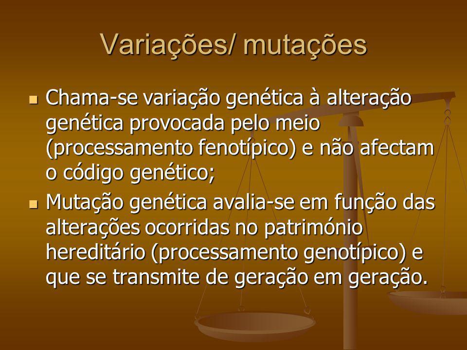 Variações/ mutações Chama-se variação genética à alteração genética provocada pelo meio (processamento fenotípico) e não afectam o código genético; Ch