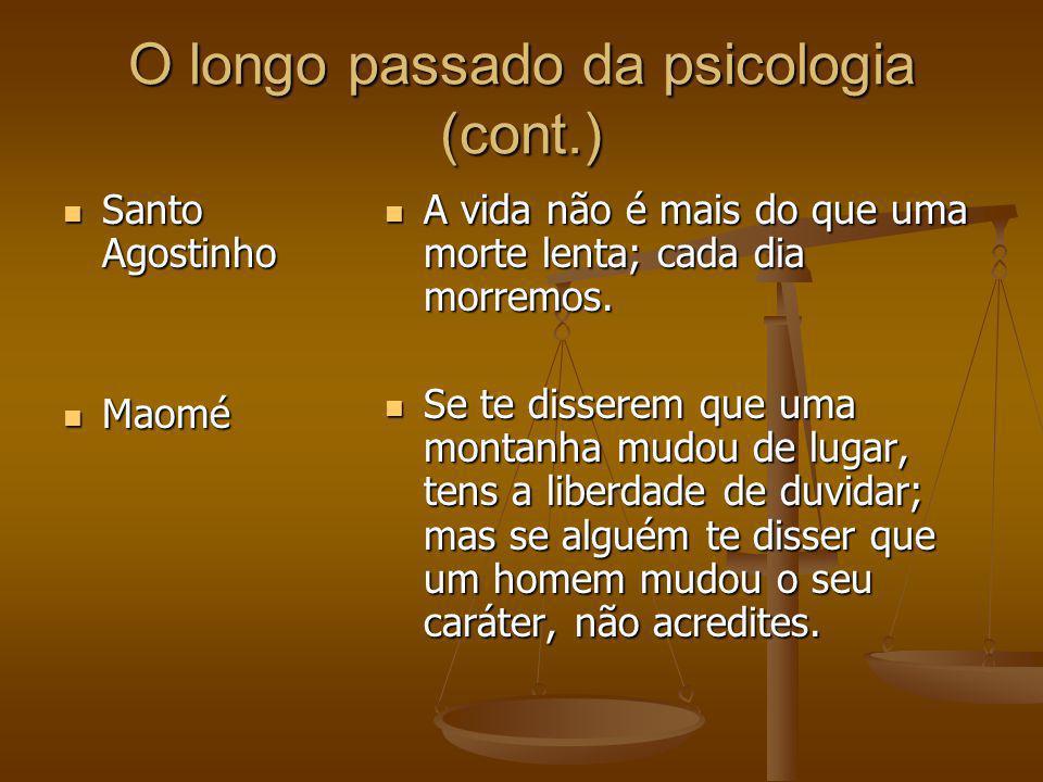 O longo passado da psicologia (cont.) Santo Agostinho Santo Agostinho Maomé Maomé A vida não é mais do que uma morte lenta; cada dia morremos. Se te d
