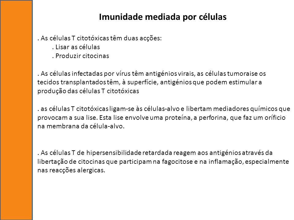 Imunidade mediada por células. As células T citotóxicas têm duas acções:. Lisar as células. Produzir citocinas. As células infectadas por vírus têm an