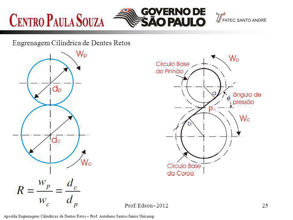 Prof. Edson - 201225 Engrenagem Cilíndrica de Dentes Retos Apostila Engrenagens Cilíndricas de Dentes Retos – Prof. Auteliano Santos Junior Unicamp
