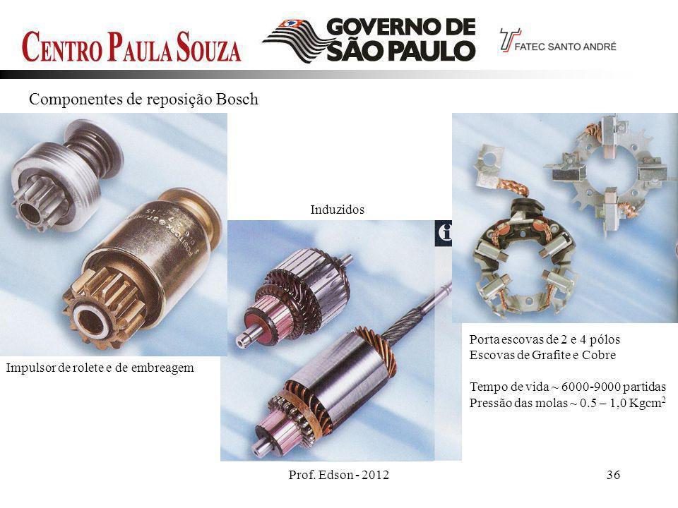 Prof. Edson - 201236 Componentes de reposição Bosch Impulsor de rolete e de embreagem Induzidos Porta escovas de 2 e 4 pólos Escovas de Grafite e Cobr