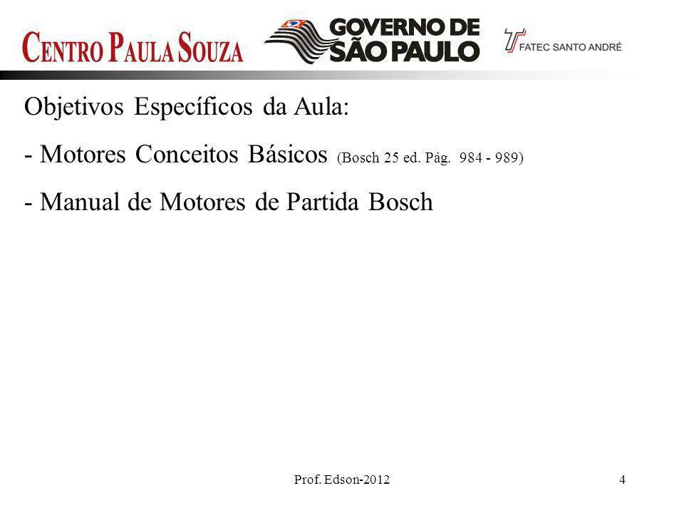 Prof. Edson-20124 Objetivos Específicos da Aula: - Motores Conceitos Básicos (Bosch 25 ed. Pág. 984 - 989) - Manual de Motores de Partida Bosch