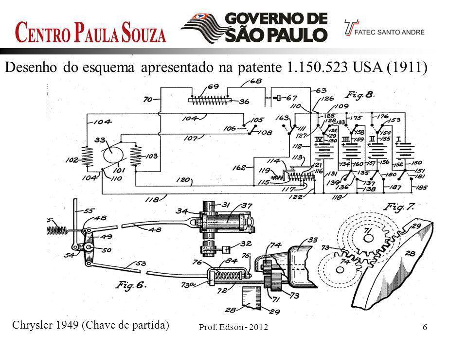 Prof. Edson - 20126 Desenho do esquema apresentado na patente 1.150.523 USA (1911) Chrysler 1949 (Chave de partida)