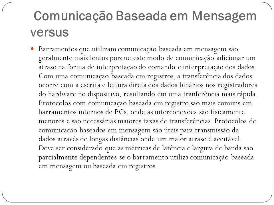 Comunicação Baseada em Mensagem versus Barramentos que utilizam comunicação baseada em mensagem são geralmente mais lentos porque este modo de comunicação adicionar um atraso na forma de interpretação do comando e interpretação dos dados.