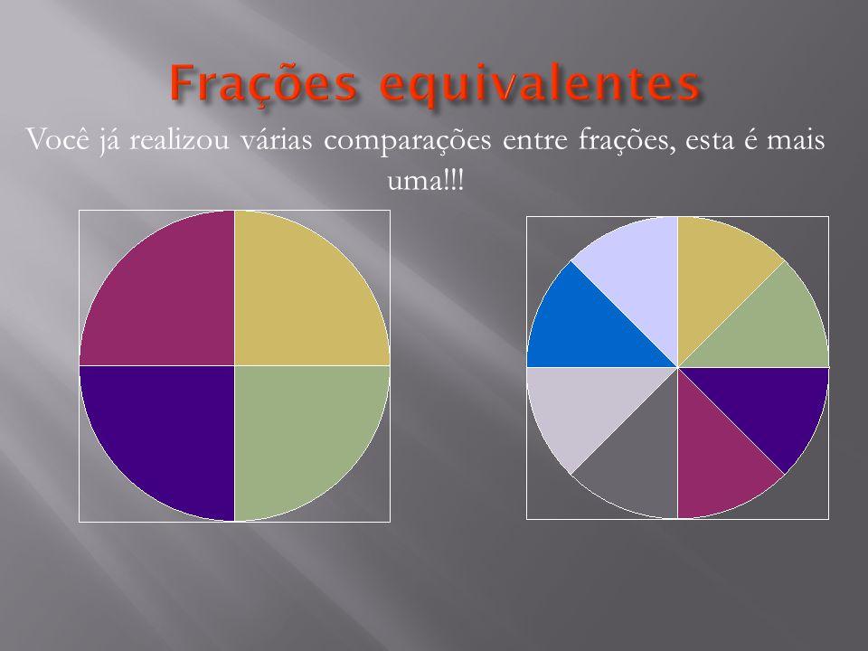 Você já realizou várias comparações entre frações, esta é mais uma!!!
