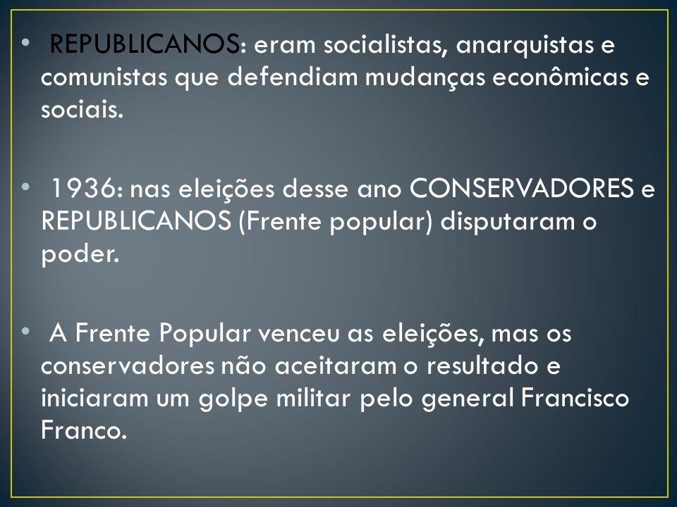 REPUBLICANOS: eram socialistas, anarquistas e comunistas que defendiam mudanças econômicas e sociais. 1936: nas eleições desse ano CONSERVADORES e REP