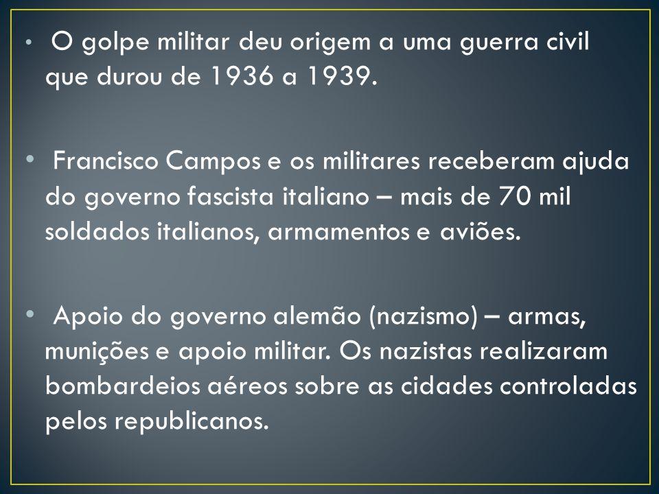 O golpe militar deu origem a uma guerra civil que durou de 1936 a 1939. Francisco Campos e os militares receberam ajuda do governo fascista italiano –