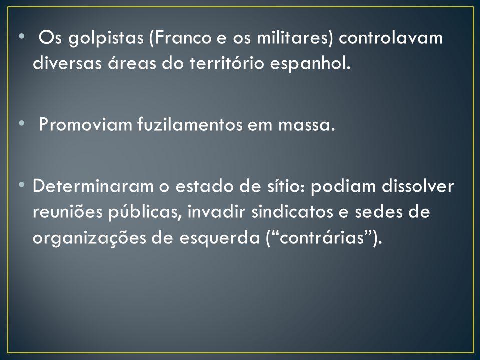 Os golpistas (Franco e os militares) controlavam diversas áreas do território espanhol. Promoviam fuzilamentos em massa. Determinaram o estado de síti