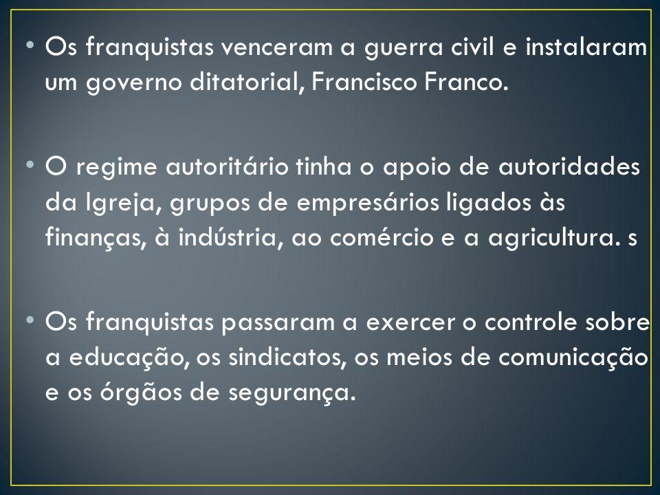 Os franquistas venceram a guerra civil e instalaram um governo ditatorial, Francisco Franco. O regime autoritário tinha o apoio de autoridades da Igre