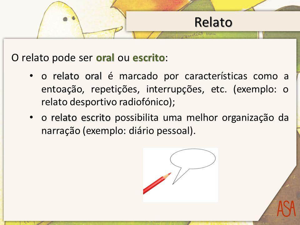 Relato oralescrito O relato pode ser oral ou escrito: relato oral o relato oral é marcado por características como a entoação, repetições, interrupções, etc.