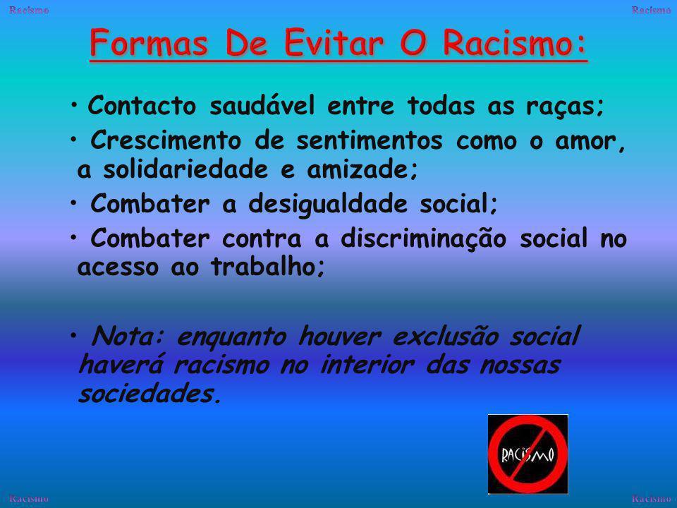 O Racismo é sempre uma recusa do outro, é a inferiorização de determinadas categorias sociais.
