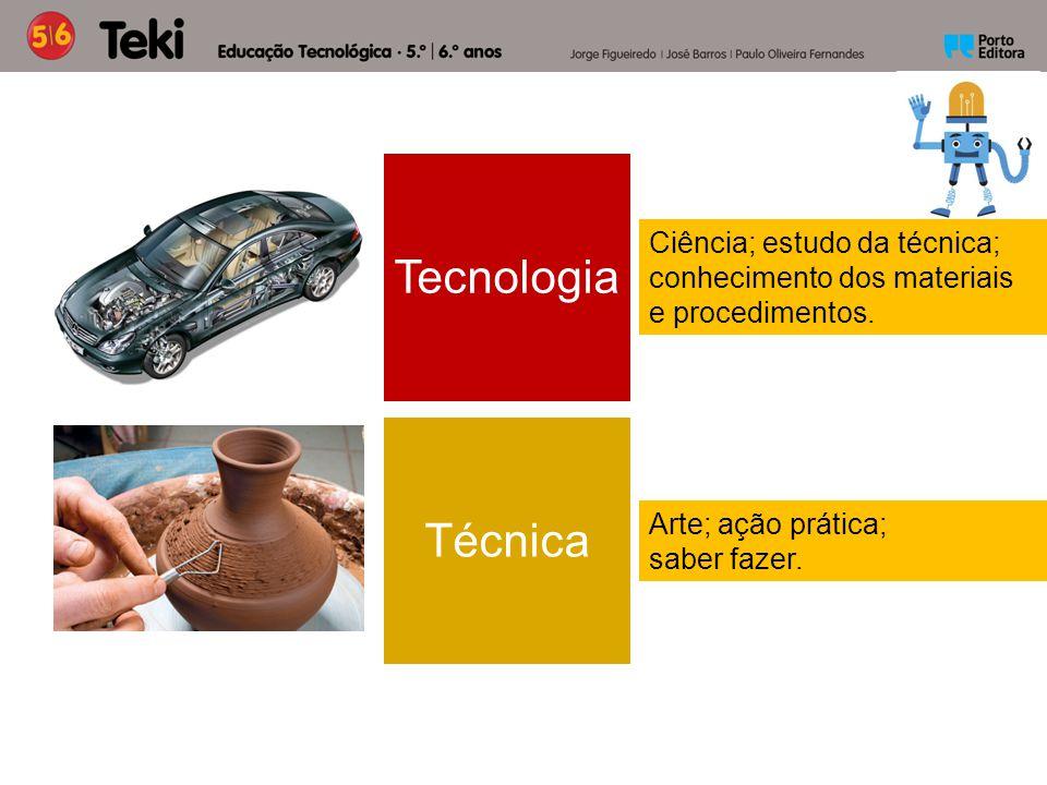 Arte; ação prática; saber fazer. Ciência; estudo da técnica; conhecimento dos materiais e procedimentos. Tecnologia Técnica