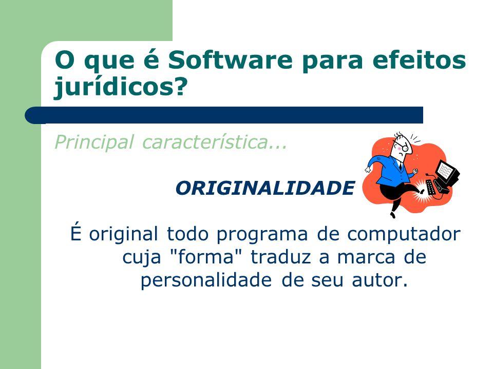 O que é Software para efeitos jurídicos? Principal característica... ORIGINALIDADE É original todo programa de computador cuja