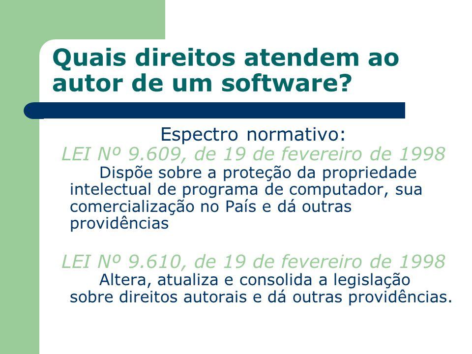 Quais direitos atendem ao autor de um software? Espectro normativo: LEI Nº 9.609, de 19 de fevereiro de 1998 Dispõe sobre a proteção da propriedade in